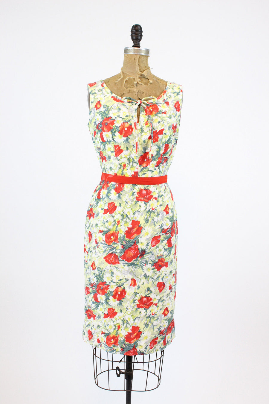 1950s rose print dress xs | vintage cotton floral wiggle dress