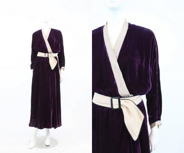 1940s wrap robe | vintage silk velvet dress | medium - large