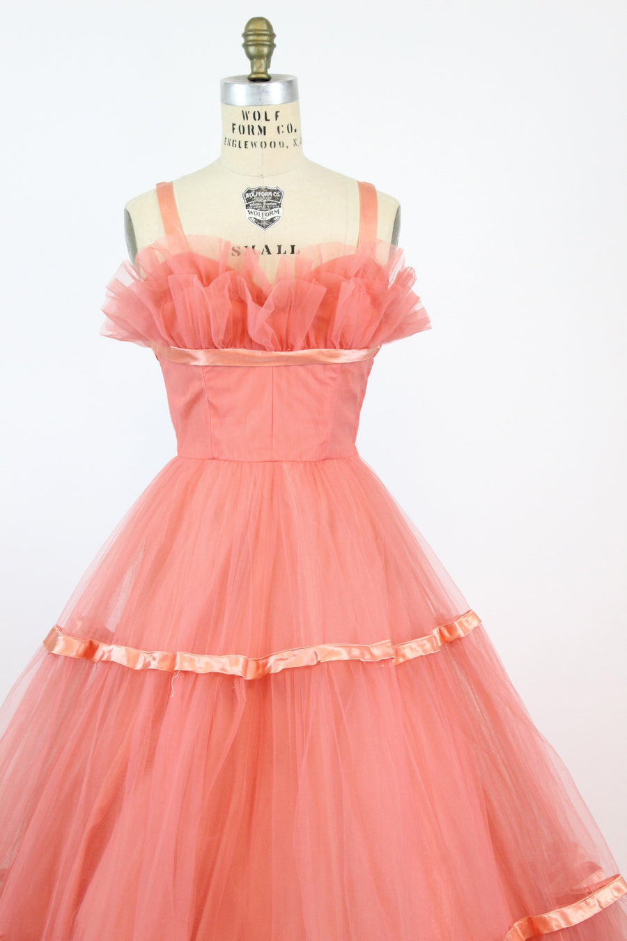 50s Emma Domb Gown XS  / 1950s Cupcake Tulle Dress / Coral Beauty Dress