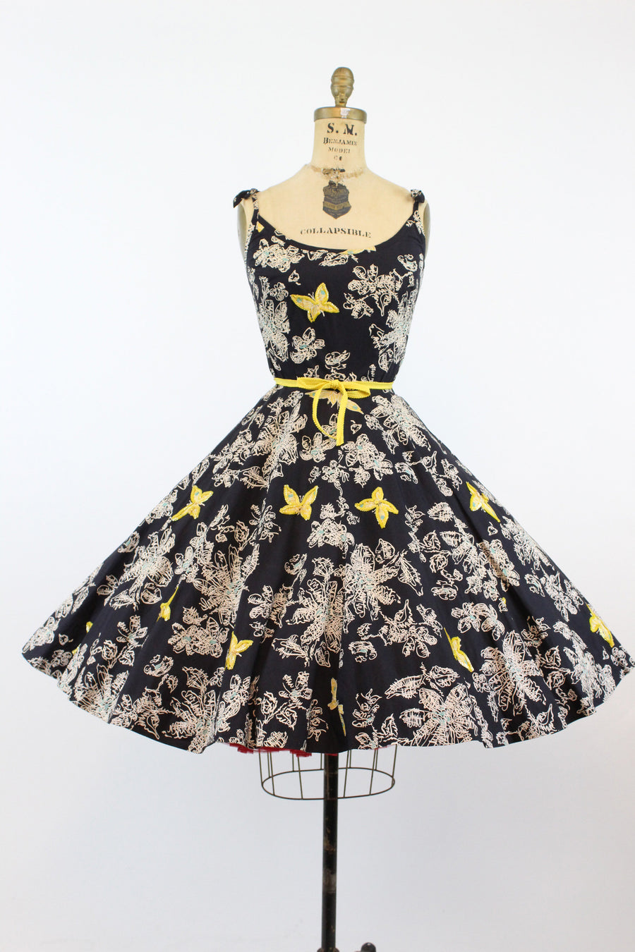 1950s novelty print butterfly dress | vintage cotton sequins full skirt | small