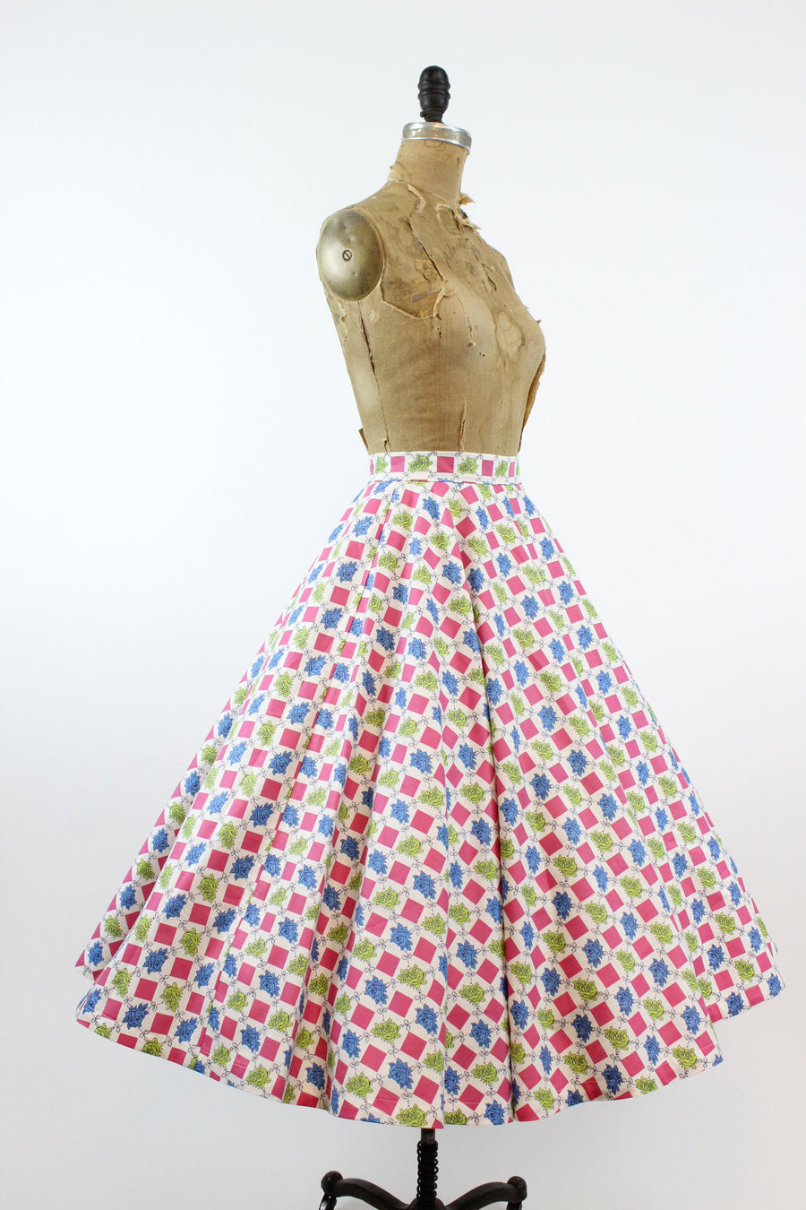 1950s rose print skirt small | vintage full circle skirt