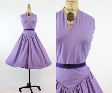 1950s lavender cotton dress small | vintage bow back dress