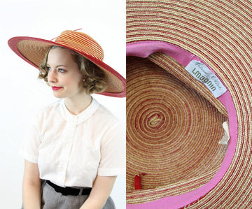 Deadstock 60s Picture Hat / 1960s Straw Sun Hat / Frank Olive for I Magnin Hat