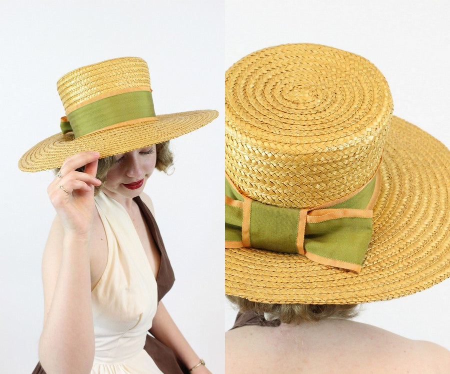 1950s wide brim picture hat | vintage bow sun hat