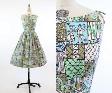 1950s novelty print dress xs | vintage wedding scene dress