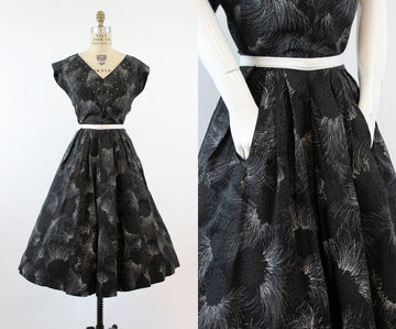 1950s rhinestone dress | firework taffeta pockets | medium