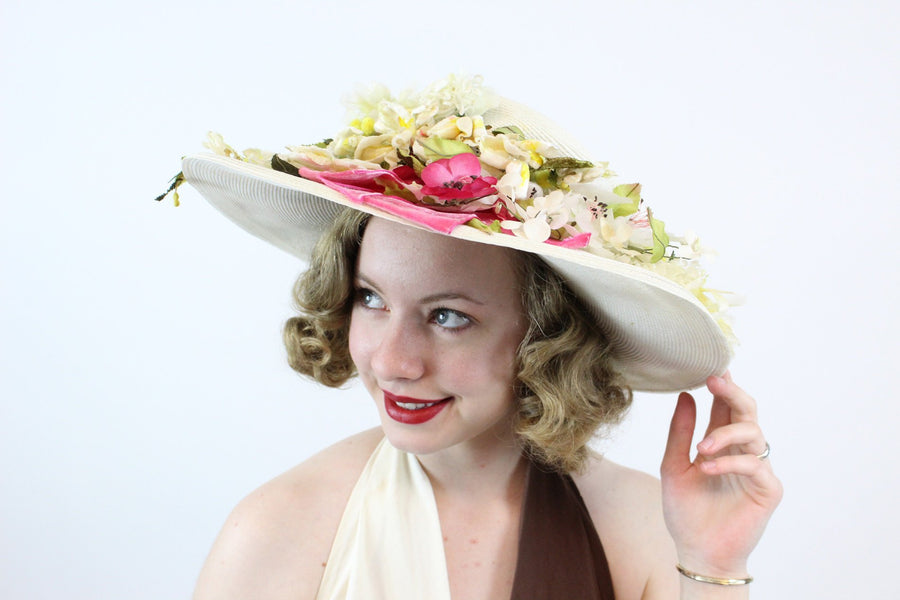 1950s Madame Poswolsky wide brim picture hat | vintage flower hat