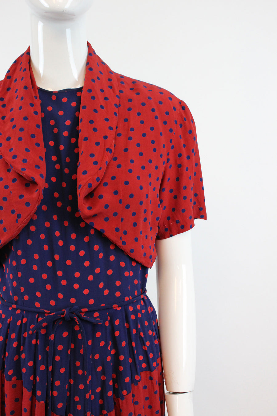1940s cold rayon dress two piece set small | vintage dress with bolero polka dots and stripes