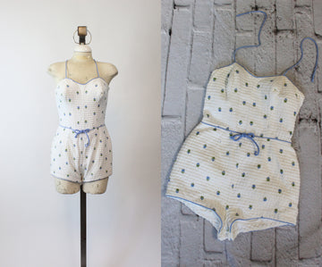 1960s Catalina swimsuit playsuit | vintage cotton romper