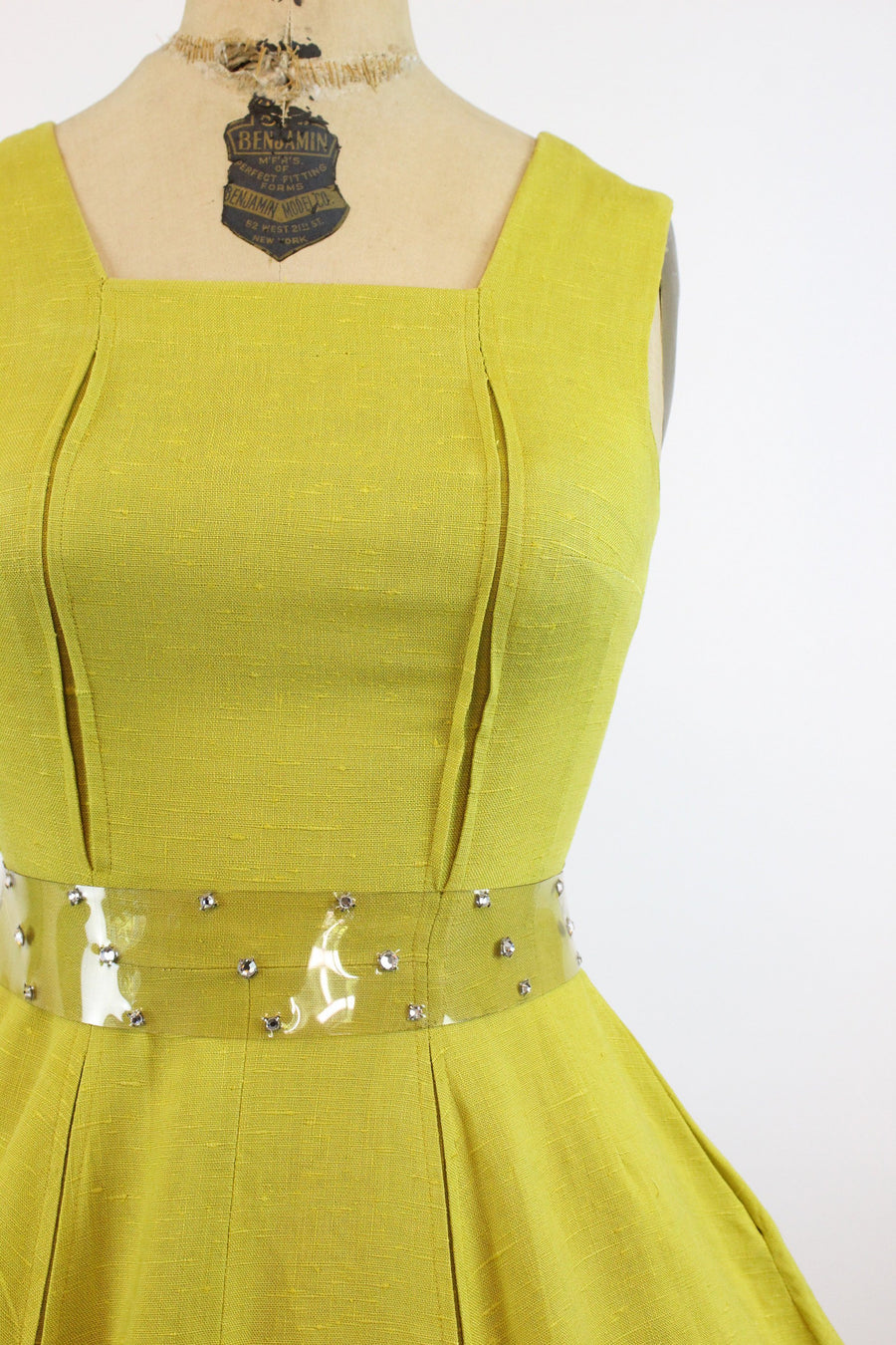 50s chartreuse linen dress xs | vintage fit and flare dress