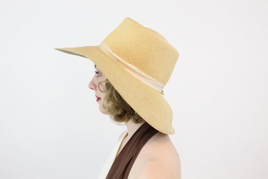 1950s Evelyn Varon wide brim picture hat | vintage panama sun hat | new in