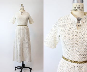 1930s knit dress medium large | vintage crochet dress | new in