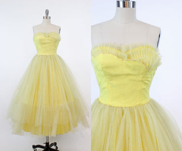 1950s strapless tulle dress xxs | vintage cupcake gown | new in