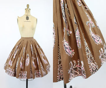 1950s batik full cotton skirt small | fern print novelty | new in