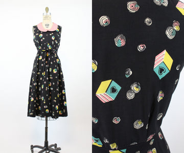 1940s heart print dress small | vintage novelty print dress | new in