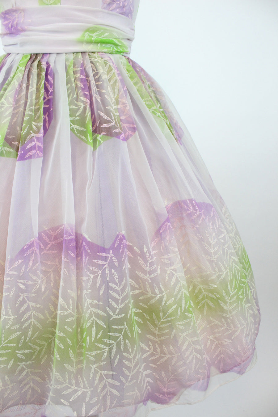 1950s painted organza dress xs | vintage full skirt cupcake | new in