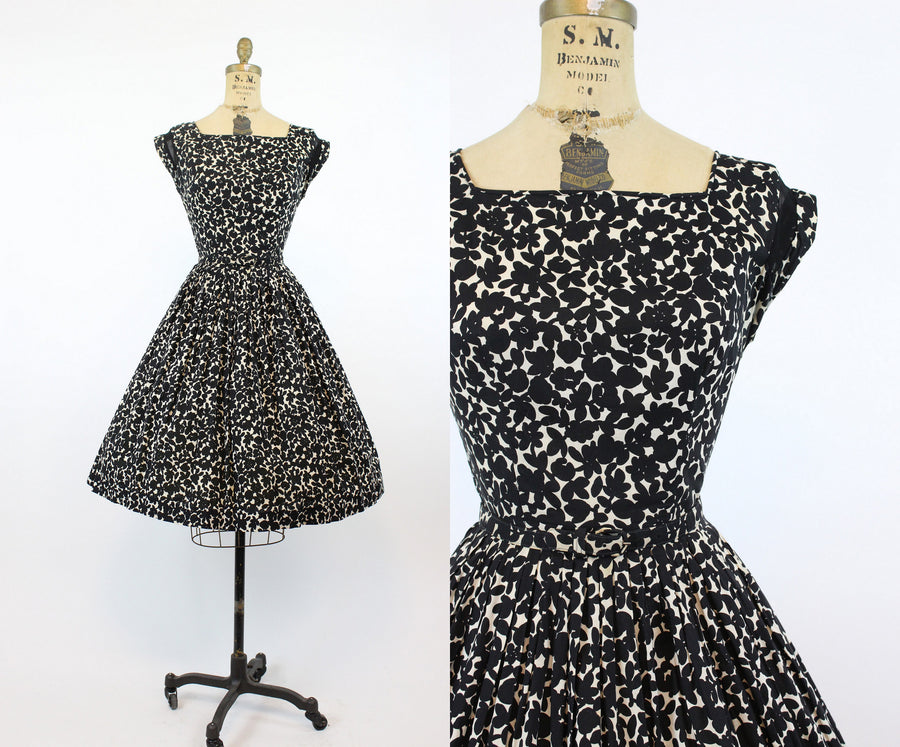 1950s fit and flare dress small | floral print cotton | new in