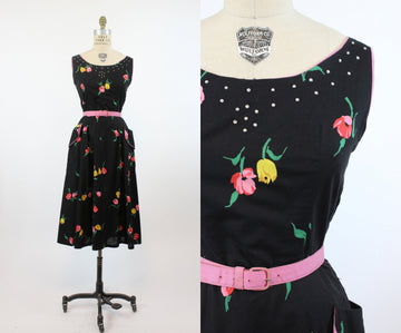 1940s tulip print dress small | vintage rhinestones cotton dress | new in