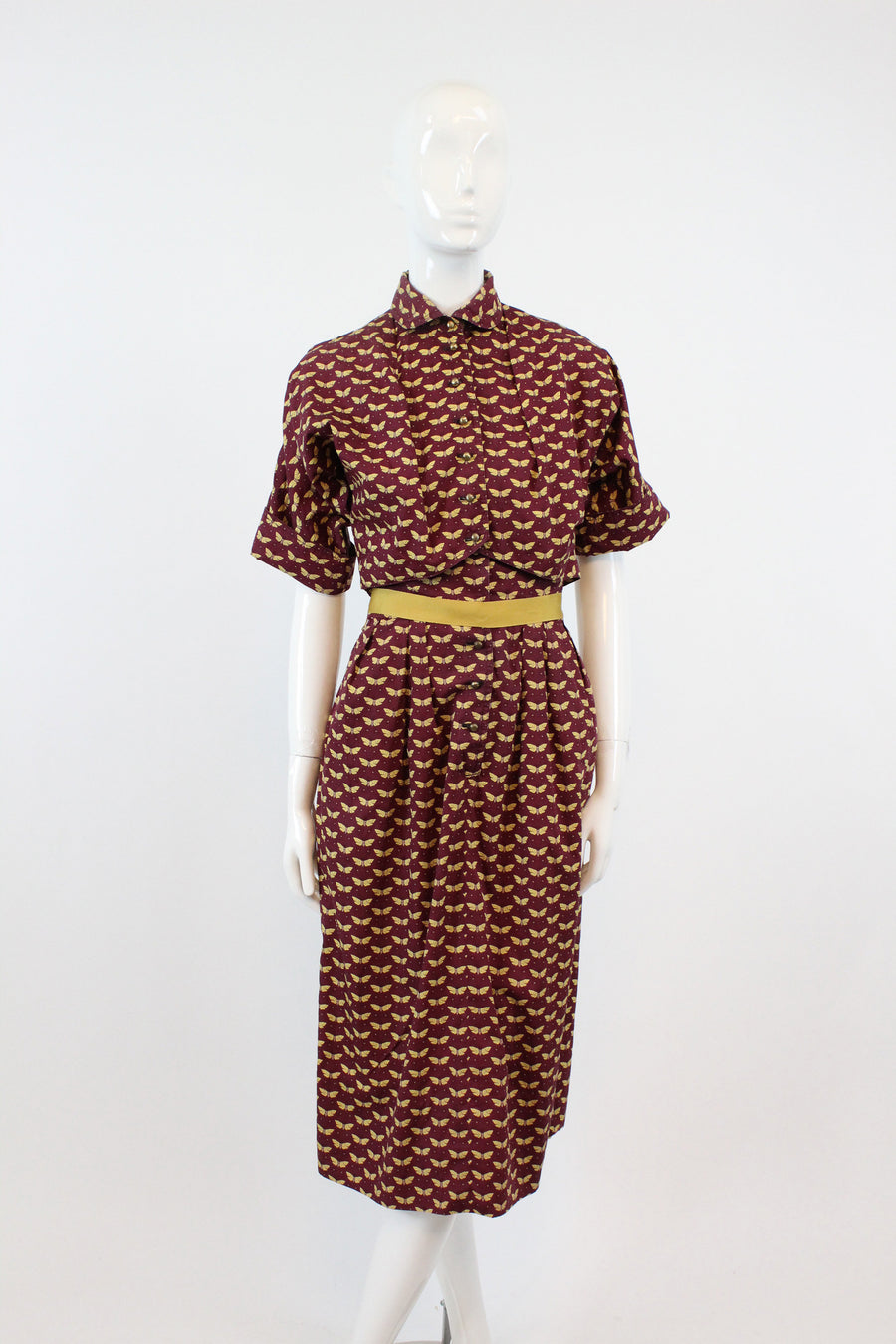 RARE 1940s Claire McCardell moth print dress and bolero xxs  | novelty print designer dress collectible new