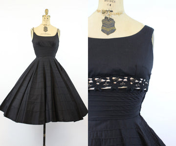1950s cotton dress and matching bolero xxs | vintage lace circle skirt dress new in