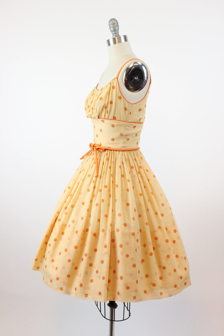 1950s cotton sundress | polka dot print | xxs