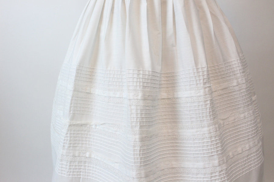 1950s Teena Paige white cotton dress xs | vintage pintucked lace dress