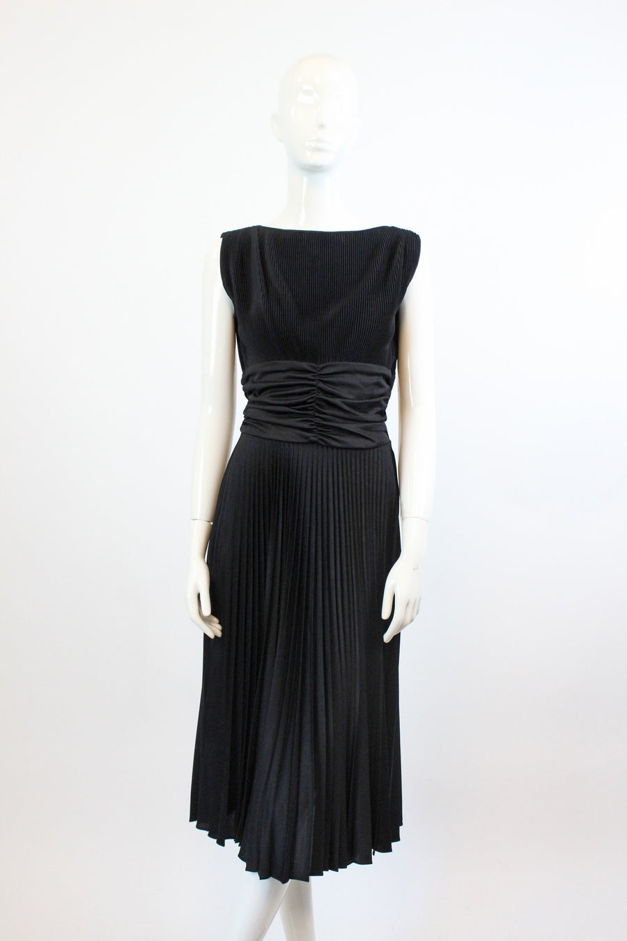 1950s Koret pleated dress xs | vintage cummerbund waist full skirt dress