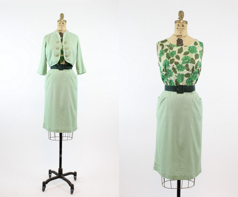 1950s green rose print dress and jacket small | vintage 2 piece set | new in