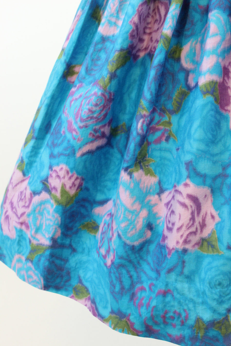 1950s rose print skirt xs | vintage full skirt cotton chintz