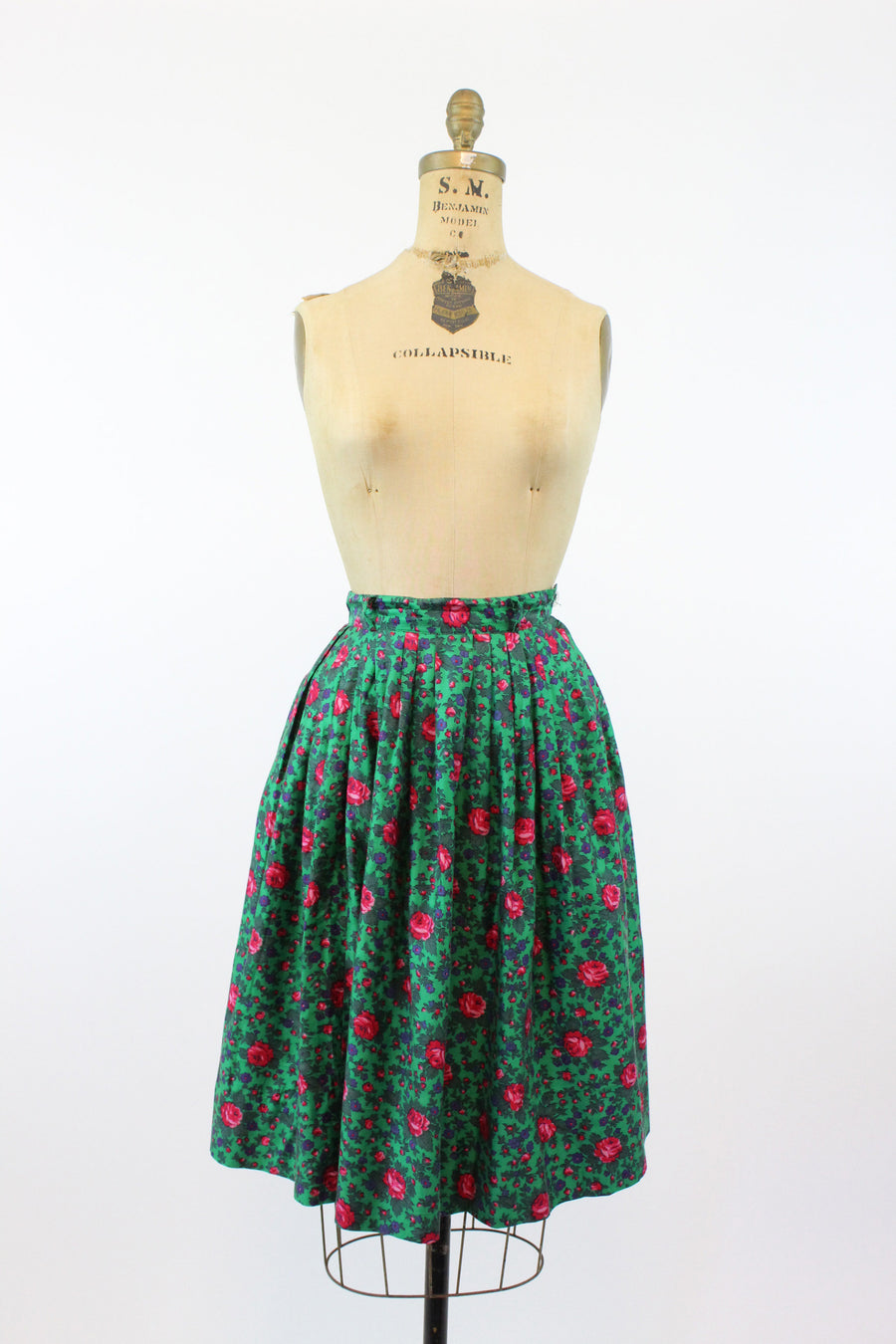 1950s rose print set dress xs | vintage novelty print two piece cotton