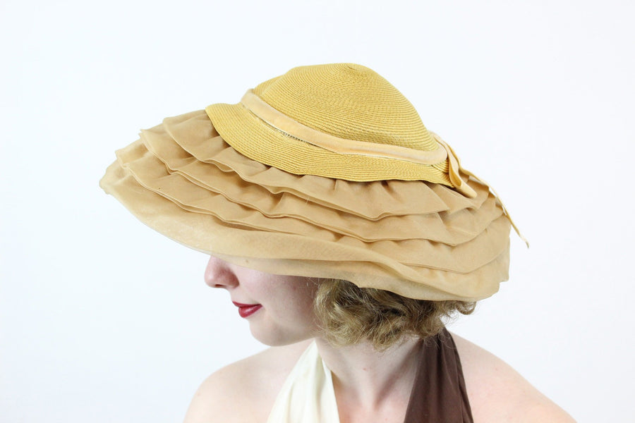 1960s Marche organza picture hat | vintage platter wedding hat