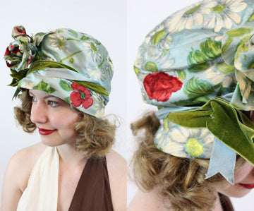 1960s floral silk turban cloche hat | 1960s does 1920s cloche