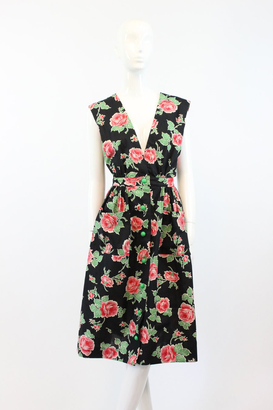 1940s rose print pinafore dress small | vintage suspender dress