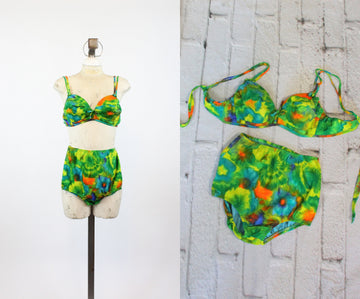 1960s hawaiian bikini swimsuit xs small | high waisted two piece swimwear