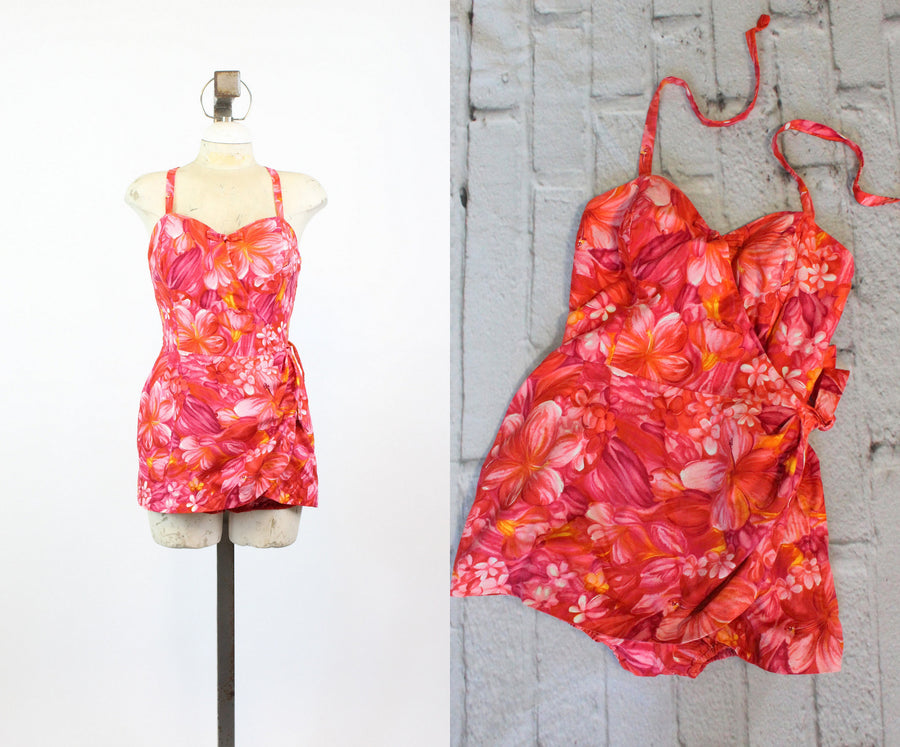 1950s Paradise Hawaii swimwear small | vintage hawaiian floral romper playsuit