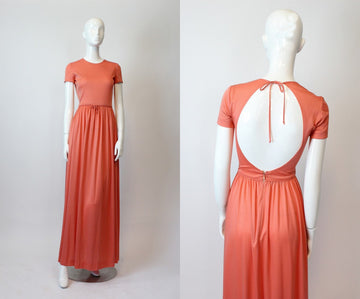 1970s John Kloss dress | jersey open back maxi | xs