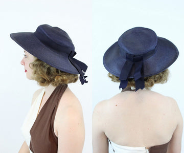 1950s Valerie Modes straw picture hat | vintage portrait hat | new in