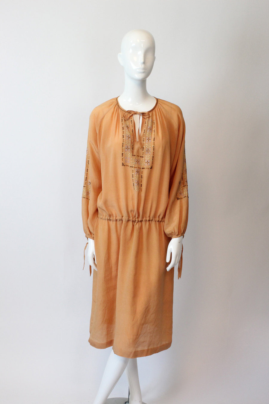 1920s peasant dress silk small medium | vintage embroidered hungarian dress | new in