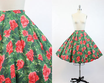 50s rose print cotton skirt | vintage circle skirt | xxs