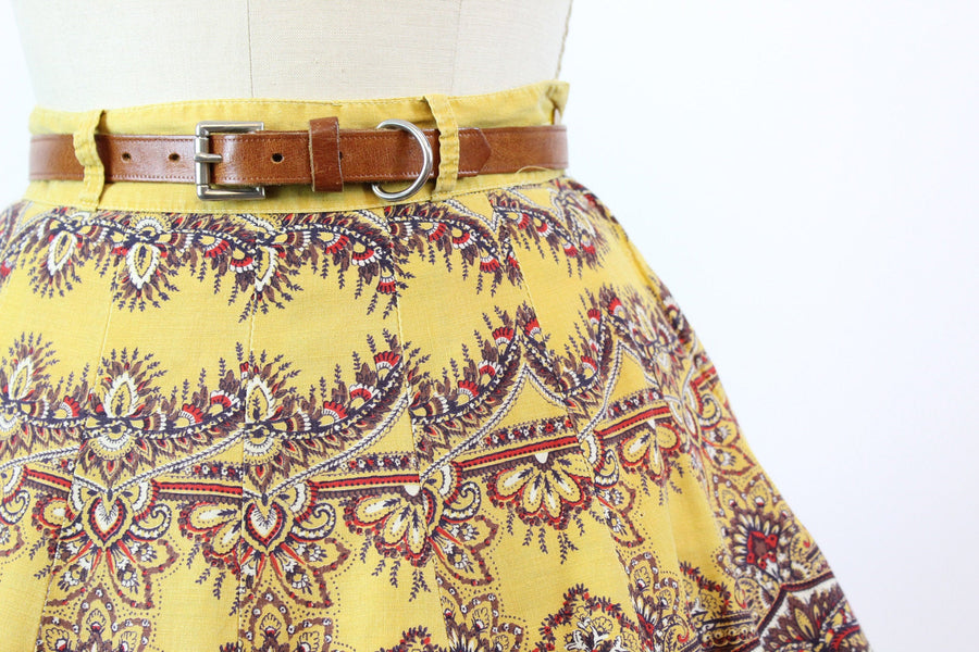 1950s bandanna print circle skirt small | vintage novelty print 16 panel skirt | new in