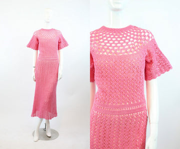 1930s knit dress xs small | vintage crochet dress