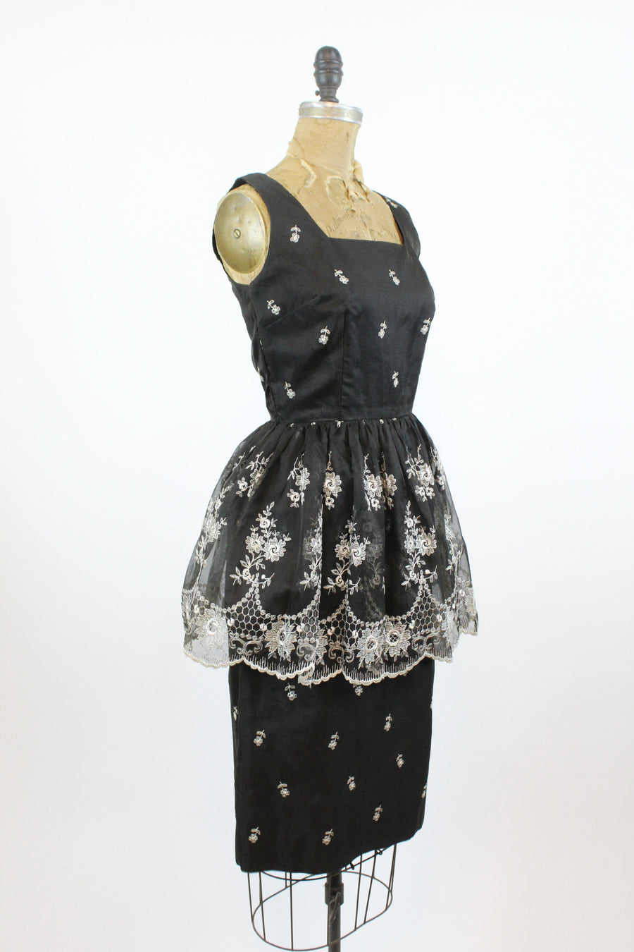 1950s peplum dress small | embroidered wiggle dress apron skirt | new in