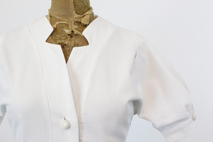 1950s cotton pique blouse xs | vintage puff sleeves top | new in
