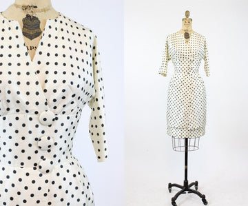 1960s wiggle dress | silk polka dot Fanya | xs