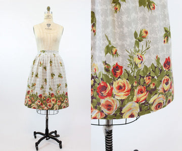1950s rose print skirt | border print | medium