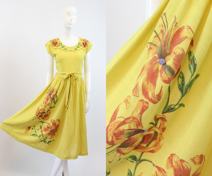 1940s hand painted gloriosa lily linen dress xs |  vintage floral dress