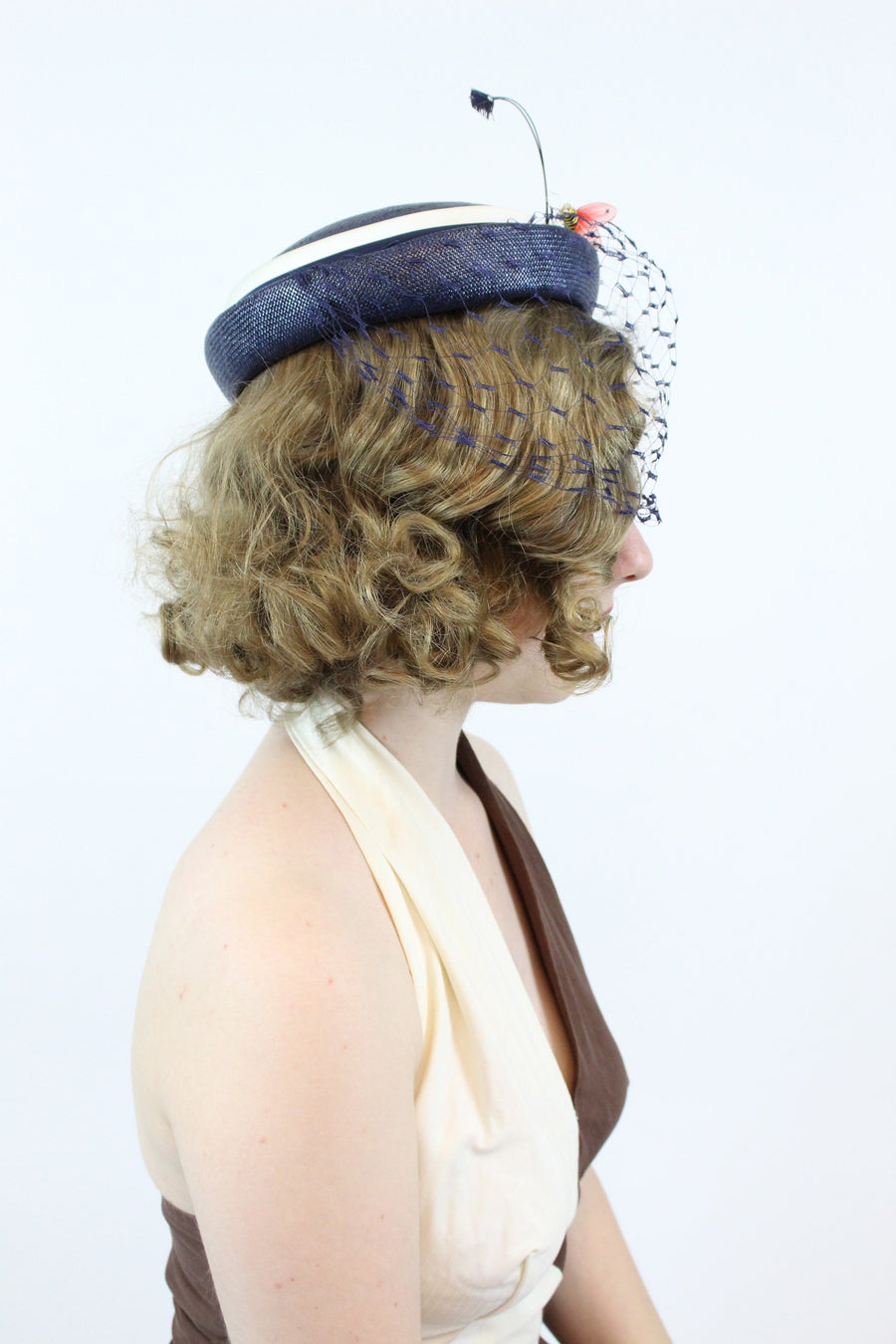 1960s straw tilt hat | vintage feather and bee fascinator