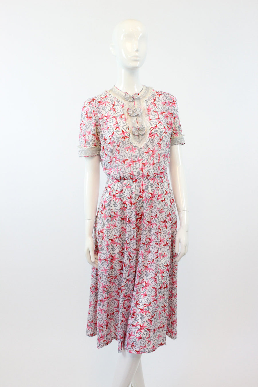 1930s floral lace dress xs | vintage rayon dress