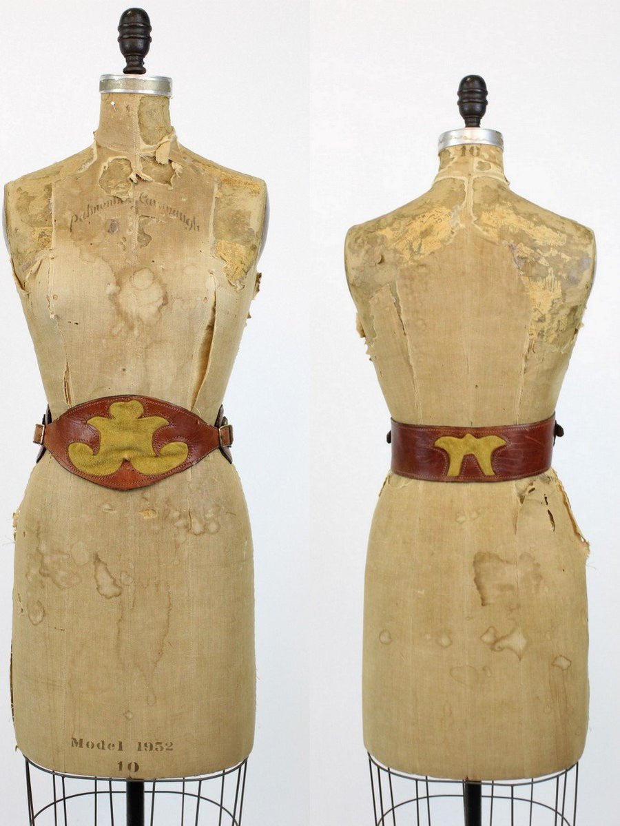 1950s wide leather belt | renaissance | medium