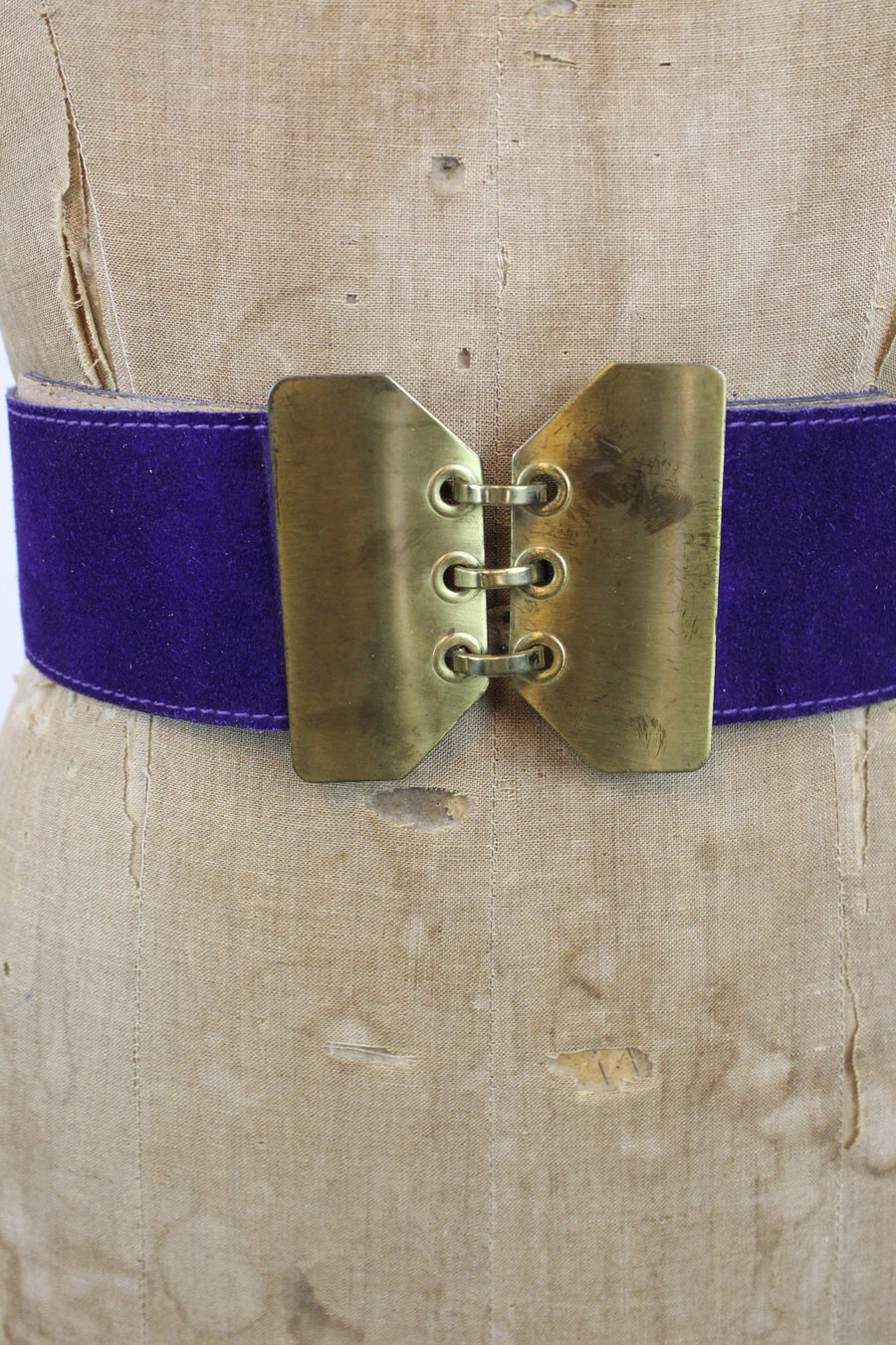 1960s wide belt | suede hook closure | large